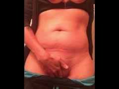 taking off workout clothes and rubbing clit