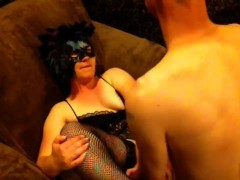pegging hubby and make him deepthroat, then he fucks my pussy