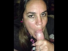 Slutty school girl sucks dick for cum..