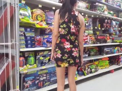 Walmart Flashing in a Mini Dress - Upskirt - Lydia Luxy