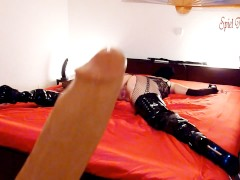 4.SPREAD EAGLE BONDAGED SLUT IN THIGH HIGH BOOTS- Monster dildo fuck orgasm