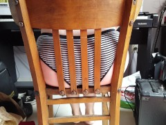 She pushes her big ass through a chair!