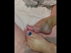 Lucky husband gets pleasured receiving his first footjob...