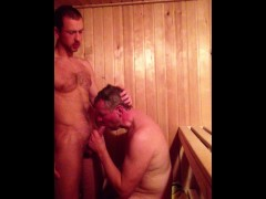 Daddy Son Cock Suck in the Sauna