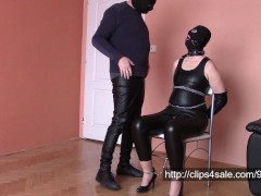 Wife in leather, selfbondage and cum on leather
