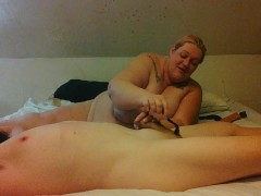 ssbbw wife works husband over with spiked wheel then handjob