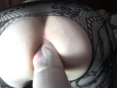 Amateur domina does anal fisting in stockings