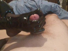 Nylon Footjob and Latex Gloves Handjob by Mistress Zaz