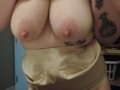 Milky mama Teases milk filled squirting tits upclose