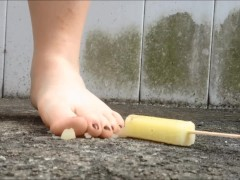 Crushing popsicles with feet (shoes and barefoot)