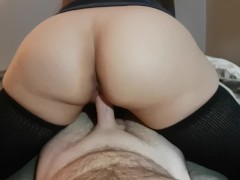: REVERSE COWGIRL WITH THIGH HIGH SOCKS HAS EXPLOSIVE ORGASM AND CUM ...