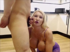 Busty Blonde British Milf talks dirty to camera and takes a facial