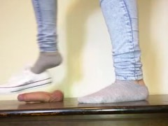Cockbox stomping by white low top Converse