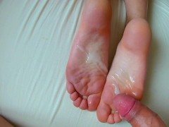 Our New Footjob Cumshot Compilation. Cum on Feet