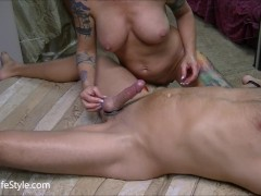 Hot edging handjob makes cock cum hard
