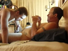 Daddy gives his boy a hard time