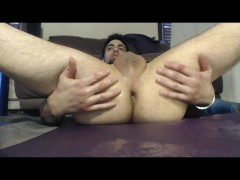 Stud fists hot hole filled w piss! pool balls tunnel & XLdildos &cums @ end
