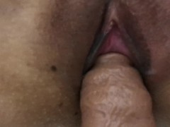 Filipina wife pussy stretched out by big penis extension. Gaping pussy.