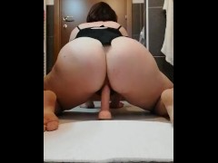 My hairy pussy jumps on big dildo and squirt - amateur chubby nasty girl