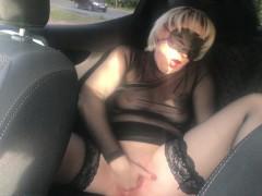 Public hard masturbation of milf near a busy road - wet pussy