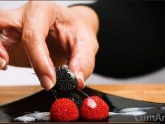 Handjob + cum on candy berries! (Cum on food 3)