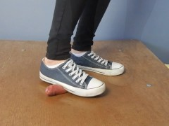 Converse cockcrush and shoejob with cumshot