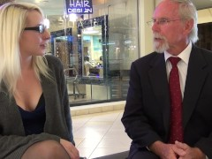 Broke Blonde Tag Teamed By Old Dudes At The Mall