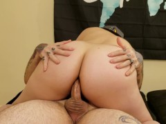 Cute short haired girl gives head before getting her ass stretched by cock