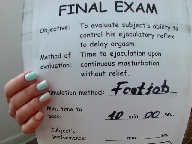 image Footjob stamina text part 2 retake exam pass or fail