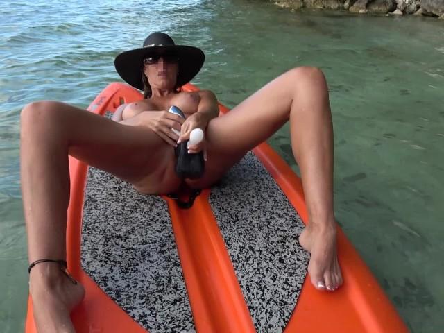 Hot Wife Masturbates on Paddle Board Floating on Lake