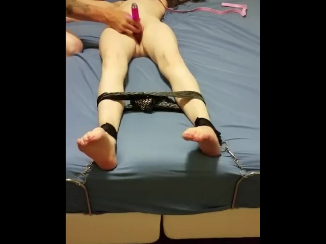 Hot Teen Tied Up Teased and Pleased With Multiple Orgasms and Cumshot
