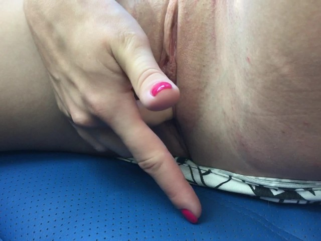 Playing With My Wet Pussy in the Car and Showing Feet