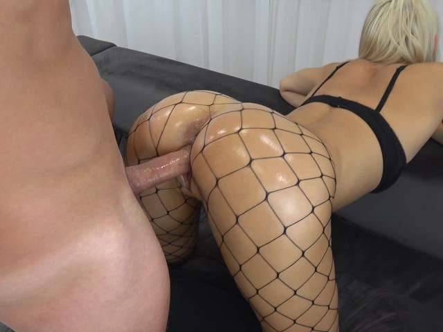 College Teen Gets Crazy From Anal and Massive Creampie in Fishnet