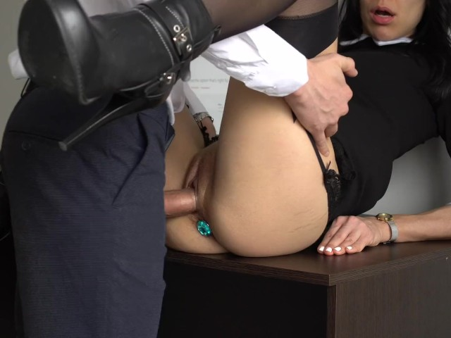 Anal Creampie for Sexy Secretary, Boss Fucked Her Tight Pussy and Ass!