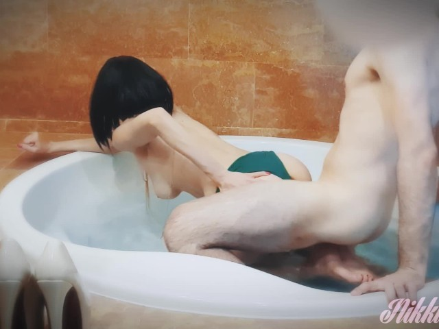 Babe With Cum on Her Tits Gets Fucked in a Jacuzzi and Swallow His 2nd Load