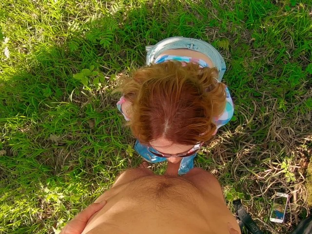 Cum on Ginger Glasses and Hair | Outdoor Blowjob of Young Redhead Girl