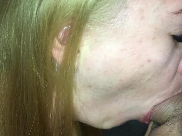 Hot Redhead Amateur Milf Blowjob - Huge Cum in Mouth Pov