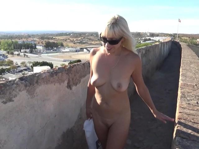 Naked Sexy Blonde Walking on Excursion