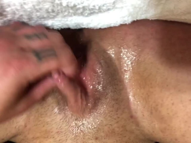 Ftm Monster Clit Stroke and Drooling Pussy