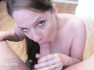 Hot Brunette Mother Tries Tittyfuck For The First Time And Fails
