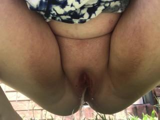 Taking a piss outside