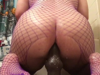 Chubby Puppy Plays With A Dildo And Wears Net Stockings Soaked In Baby Oil