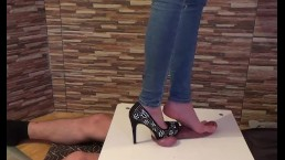 High heels and footjob...