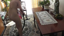 Naked cleaning. Naked at...
