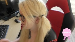 Cute blond girl gets...