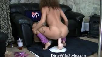 I ride a huge dildo as I watch men masturbate and cum tribute my videos