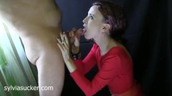 Redhead in Red. Wife's CFNM Smoking BJ Cum Plaster-Sylvia Sucker Chrystall.