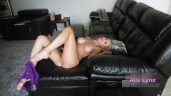 Sexy blonde cam girl finger fucks wet pussy