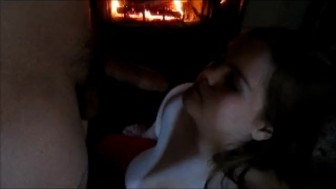 Fireplace blowjob warming hubby dick up with my wet lips with cum yum!