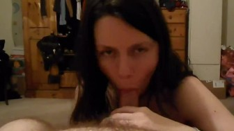 pov amateur blowjob by sexy brunette awesome cumshot